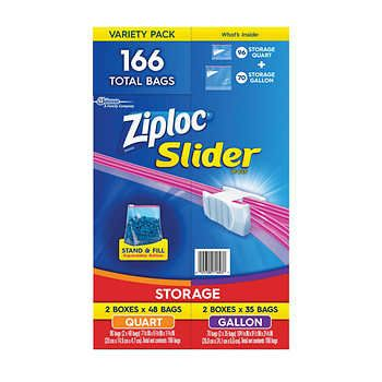 Ziploc Slider Storage Bag Variety Pack 166 Count With Images