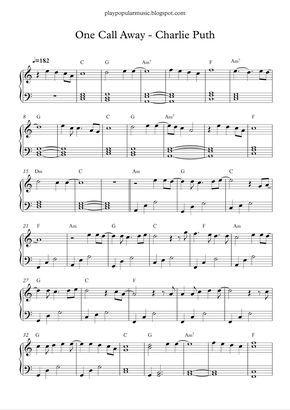 One Call Away Charlie Puth Cello Sheet Music Piano Sheet
