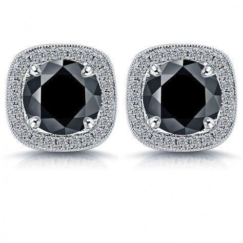 1a51445c1 2.85 Carat Fancy Black Diamond Pave Halo Diamond Studs Earrings 14k White  Gold - Thumbnail 1