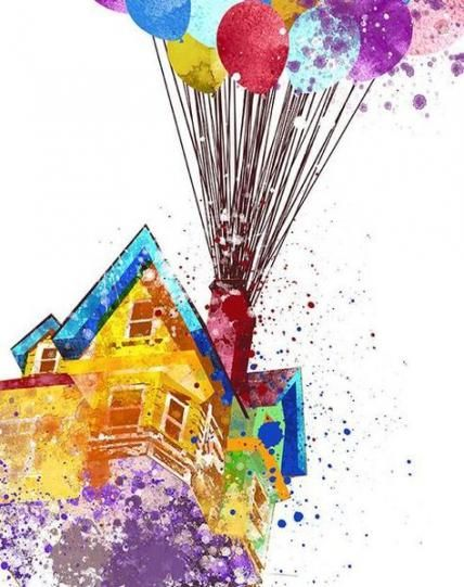 44 Ideas For House Cartoon Kids Wall Art Watercolor Disney Disney Art Up Pixar