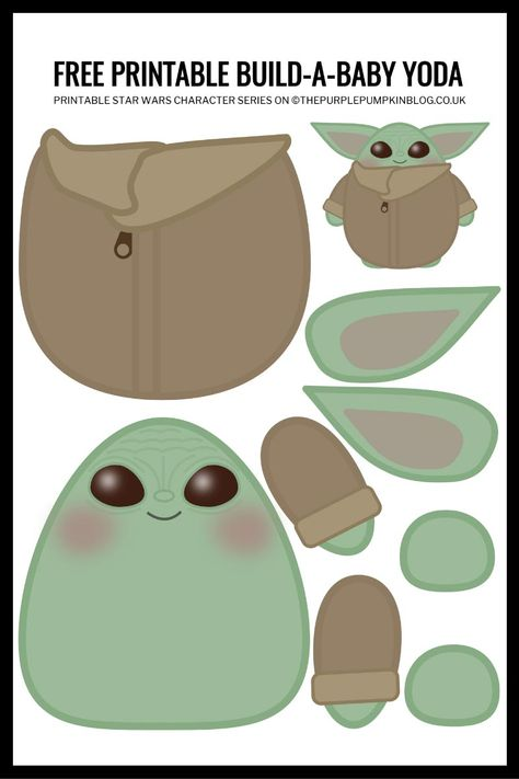 Build A Baby Yoda Free Printable! This Build A Baby Yoda Free Printable is a fun paper craft for all fans of this super cute and super loveable character from Star Wars: The Mandalorian! Theme Star Wars, Star Wars Party, Star Wars Food, Star Wars Kids, Printable Star Wars, Printable Paper Crafts, Anniversaire Star Wars, Star Wars Crafts, Star Wars Birthday