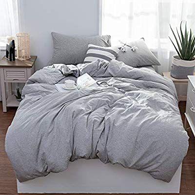Amazon Com Lifetown Jersey Knit Cotton Duvet Cover Queen Full Size Dark Gray Duvet Cover Set 3 Pieces Gray Bed Set Light Grey Bedding Light Grey Duvet Covers