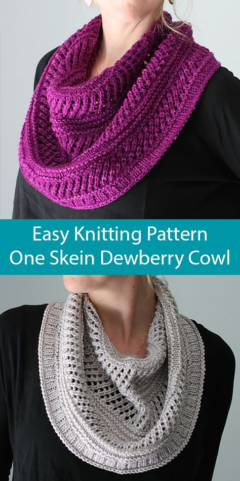 Knitting Pattern for Easy One Skein Dewberry Cowl - Dewberry utilizes purled str. Knitting Pattern for Easy One Skein Dewberry Cowl - Dewberry utilizes purled stripes and the simplest of lace patterns t. Lace Patterns, Easy Knitting Patterns, Lace Knitting, Crochet Patterns, Free Cowl Knitting Patterns, Knitting Projects, Infinity Scarf Knitting Pattern, Finger Knitting, Scarf Patterns