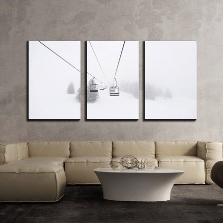 Wall26 3 Piece Canvas Wall Art Ski Lift In Winter Modern Home Decor Stretched And Framed Ready To Hang 16 X24 X3 Panels Walmart Com Ski Decor Wall Canvas Ski Art
