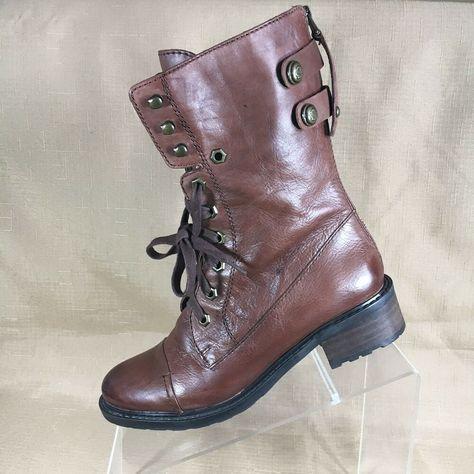 2de9c305c Sam Edelman Womens Combat Boots Brown Leather Size 6.5 M  fashion  clothing   shoes