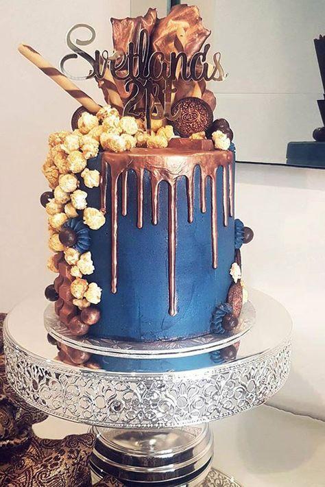 Navy and Copper 21st Birthday Cake