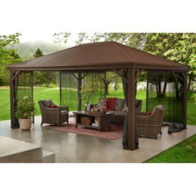 12 X 10 Cedar Pergola Sam S Club In 2020 Hardtop Gazebo Gazebo Backyard Gazebo