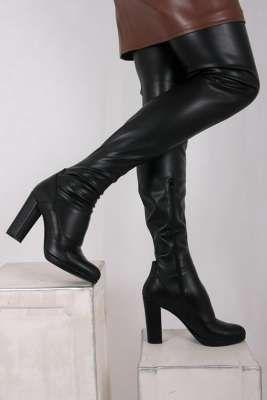 Schwarze Crotch Overknee Stiefel | Overknee stiefel leder