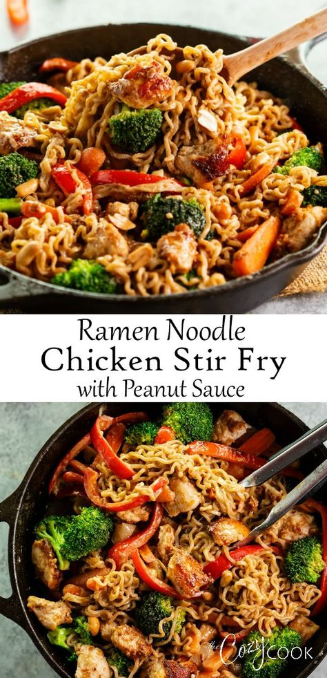 This easy Ramen Noodle Chicken Stir Fry recipe is a perfect dinner for busy weeknights. It's tossed in a flavorful peanut sauce and is easy to customize with whatever vegetables you have on hand! #chicken #stirfry #peanutsauce #ramennoodles