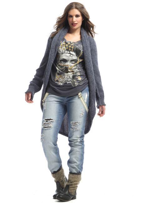 Broek Mat bleach denim met bretels :: broeken :: Grote maten - mode online   Gratis verzendig   Bagoes fashion