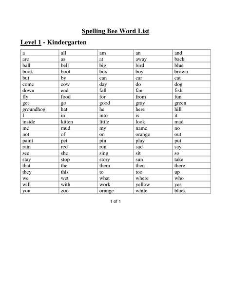 Kindergarten Sight Words Worksheets Spelling Bee Word List Level 1