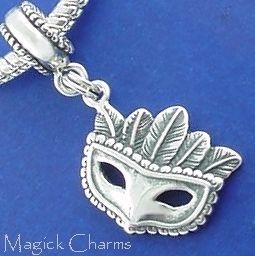 Sterling Silver New Orleans Mardis Gras avec masque de charme