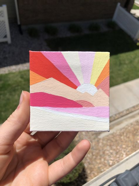 Mountain sunset scene on a mini canvas - - can be hung up on the wall Small Canvas Paintings, Easy Canvas Art, Mini Canvas Art, Small Canvas Art, Easy Canvas Painting, Cute Paintings, Diy Canvas, Diy Painting, Abstract Paintings
