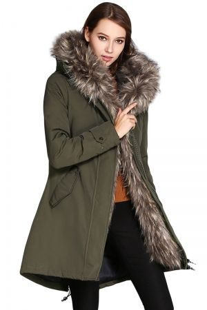 Green Ladies Parka Fur Trim