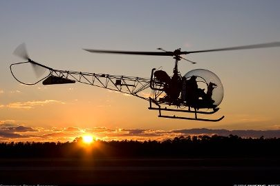 The iconic Bell 47 light helicopter, one of manufactured from by Bell of the United States.