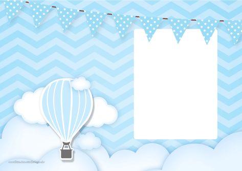 Convite com Foto Balão de Ar Quente Azul 3