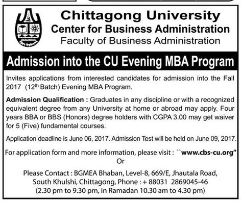 Chittagong University Evening MBA Admission 2017 Notice published - admission form school
