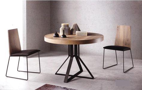 mesa comedor redonda extensible moderna pata metal hiedra ...