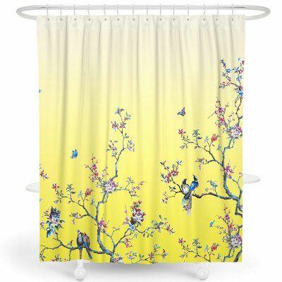 World Menagerie Robinett Flower Birds Single Shower Curtain