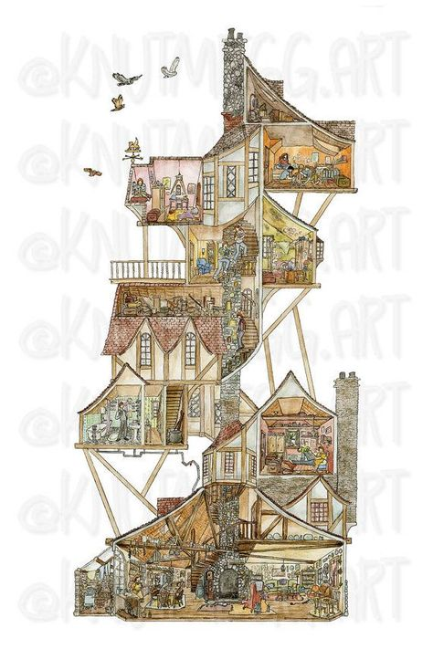 Harry Potter Print A Perfect Day at the Burrow by DashofKnutmegg