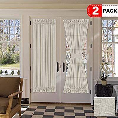 Amazon Com H Versailtex Natural Linen Blended French Door Curtain Rich Linen Light Filtering Semi She In 2020 French Door Curtains French Door Curtain Panels Curtains