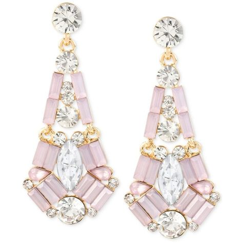 26 Liked On Polyvore Featuring Jewelry Earrings Pink Post Drop Gold Tone Crystal And