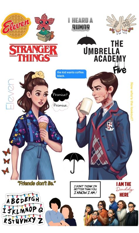 Stranger things and the umbrella Academy wallpaper