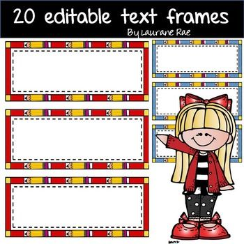 These 20 pencil editable text frames are sure to enhance any text content. They are designed to fit 2 on a page (landscape mode) and 3 on a page (portrait mode).   Great for flash cards, vocabulary cards, name plates, game cards mathematical terminology, and you know best :) Use them to color code your flashcards/task cards.