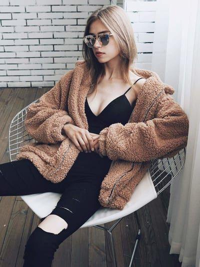 For Sale - Elegant Faux Fur Coat Women 2020 Autumn Winter Warm Soft Zipper Fur Jacket Female Plush Overcoat Pocket Casual Teddy Outwear