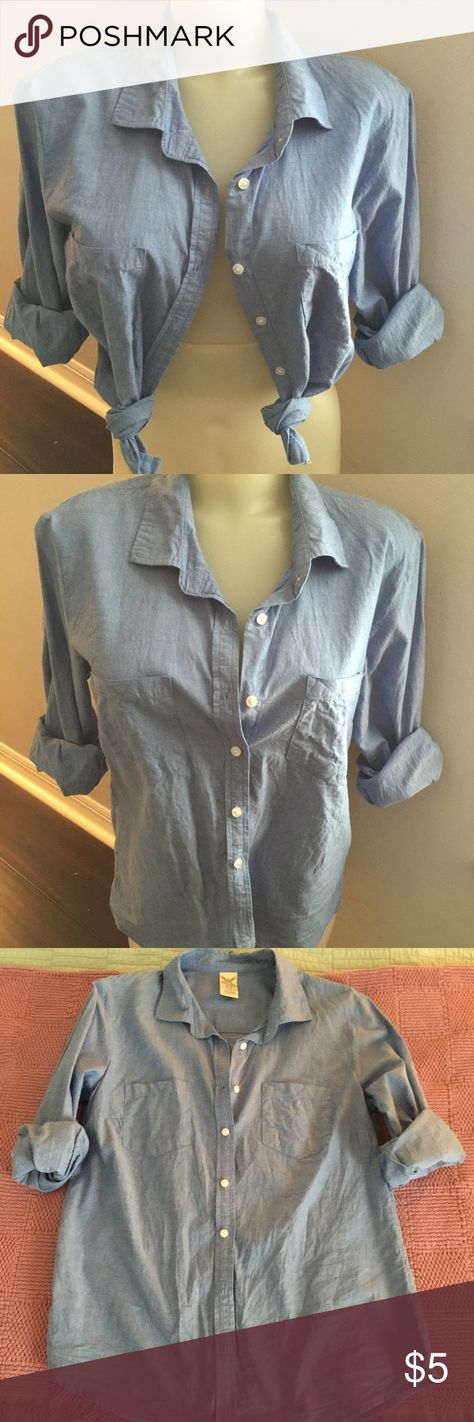 Blue Cotton Button Down Blue cotton button down shirt by Faded Glory size small; excellent like new condition as worn once last year as part of Halloween costume Faded Glory Tops Button Down Shirts