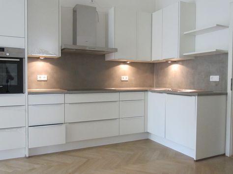 Einbau-Küche weiß Kochinsel-Beton Arbeitsplatte | Arbeitsplatte ... | {Arbeitsplatte beton 6}