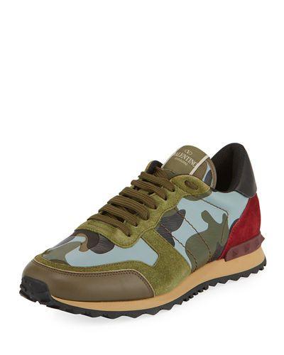 valentino rockstud camouflage trainers