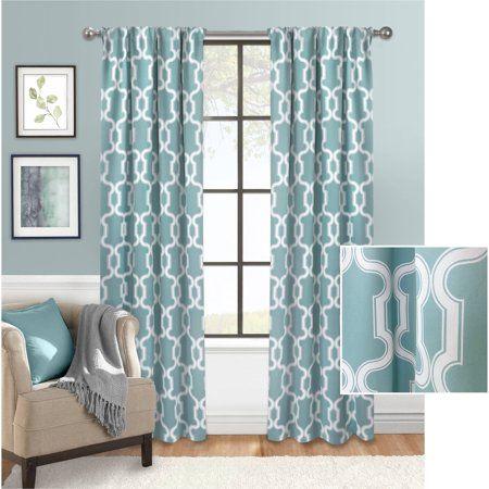 Mainstays Bold Lattice Room Darkening Curtain Walmart Com Home
