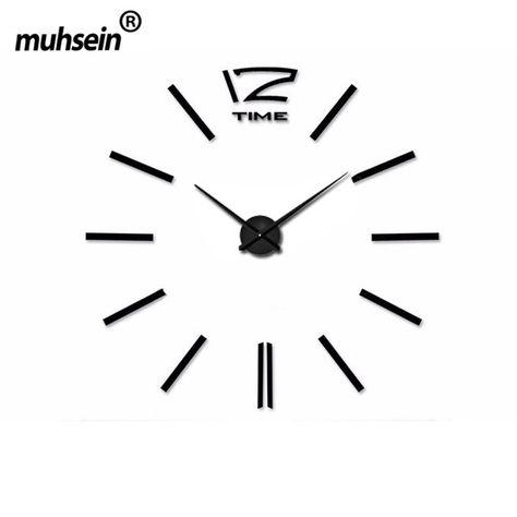 La Decoración Del hogar Del Reloj de Pared Grande ClocksDIY Espejo Reloj de Pared de Diseño Moderno de Gran Tamaño de La Pared Etiqueta de La Pared Regalo Único