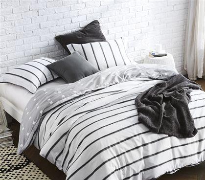 Striped Design Black Ink Twin Extra Long Duvet Cover Black And White College Dorm Bedding Dorm Bedding Black Duvet Cover Duvet Sets