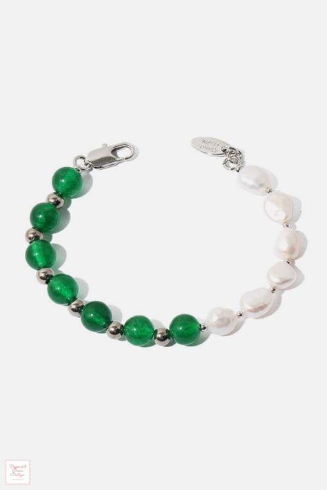 Freshwater Pearl Natural Stone Bracelet - Green Stone-Pearl
