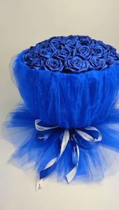 Video tutorial on silk bouquet in blue   - Diy & Crafts - #Blue #Bouquet #Crafts #DIY #silk #Tutorial #video