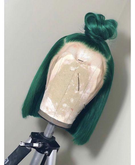 Hair Grade: Magic Love Hair Unprocessed Virgin Human Hair Hair Length: inches In Stock Hair Color: Green Curly Hair Styles, Natural Hair Styles, Baddie Hairstyles, Hair Laid, Lace Hair, Human Hair Wigs, Lace Wigs, Hair Hacks, Dyed Hair