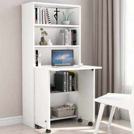 Buy Tribesigns Folding Computer Desk Compact Pc Laptop Study Writing Desk With Shelves Fold Out Storage Cabinet For B Armoire Desk Bookshelf Desk Hidden Desk