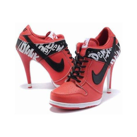 sale retailer 24f77 6da66 WMNS Nike Dunk Heels Shoes Low Red Black Online Outlet New Releases ❤ liked  on Polyvore featuring shoes