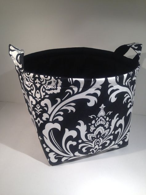Extra Large 10 X 10 X 10 Fabric Basket Organizer Bin Storage Container White On Black Damask Print Fabric Storage Baskets Basket Organization Fabric