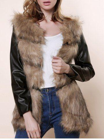 f17c8fe05 Stylish Collarless Long Sleeve Faux Fur PU Spliced Women's Coat | RoseGal  Fashion | Faux fur hooded coat, Coat, Coats for women