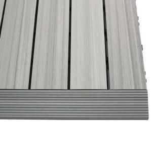 Newtechwood 1 6 Ft X 1 Ft Quick Deck Composite Deck Tile Straight Trim In Icelandic Smoke White 4 Pieces Box Us Qd Sf Zx Sw The Home Depot Deck Tile Composite Decking Deck Tiles
