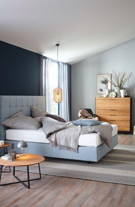 Polsterbett Schlafzimmer Idee Highboard Holz Hellblaues Bett Ever Schoner Wohnen Kollektion In 2020 Haus Innenarchitektur Wohnen