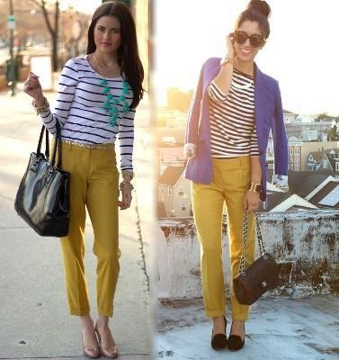 Cómo combinar un pantalón mostaza Combinar pantalones
