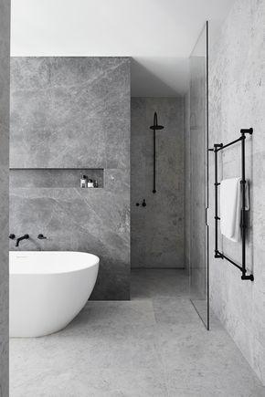 For Main Bathroom Shower Behind Wall No Door Grey Bathrooms Designs Modern Bathroom Design Bathroom Interior Design