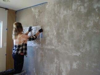 Distressed Concrete Wall Kari Caldwell Faux Concrete Wall Concrete Walls Interior Painting Concrete Walls
