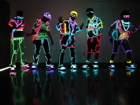 Neon, glow-in-the-dark clothes.