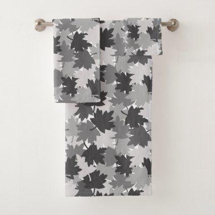 Gray Leaf Leaves Camo Camouflage Rustic Farmhouse Bath Towel Set