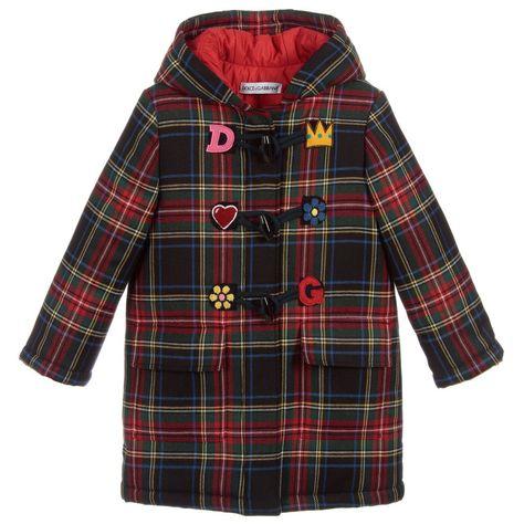 75cc26fa2 Girls Blue Tartan Wool Coat